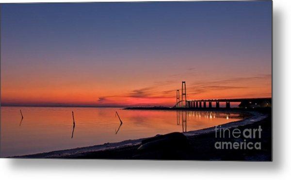 Sunset By Bridge Metal Print
