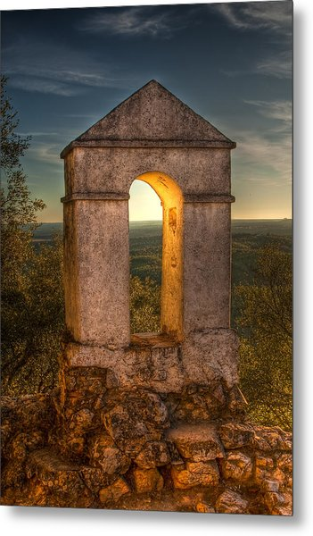 Sunset In Monfrague Castle Metal Print