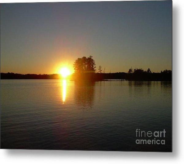 Sunset Juggler Lake Island Metal Print