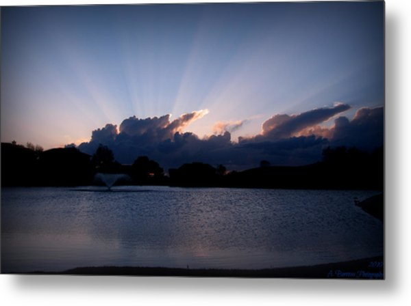Sunset Light Rays Over The Pond Metal Print by Aaron Burrows