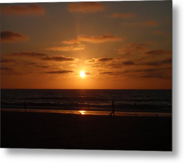 Sunset On A Beach In San Diego Ca Metal Print by Brittany Roth