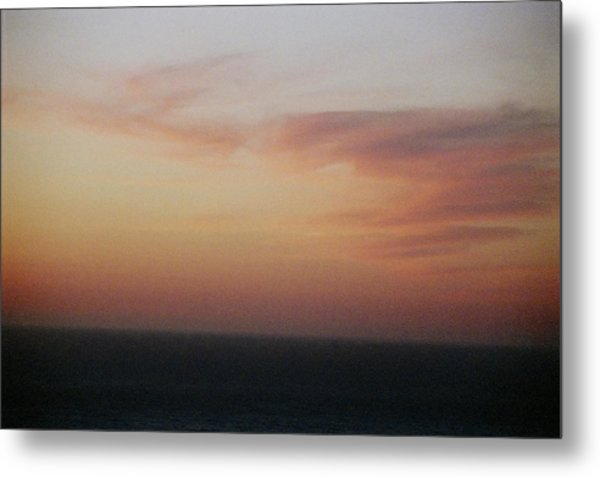 Sunset On Horizon Horizontal At Big Sur Metal Print by Christina Weber