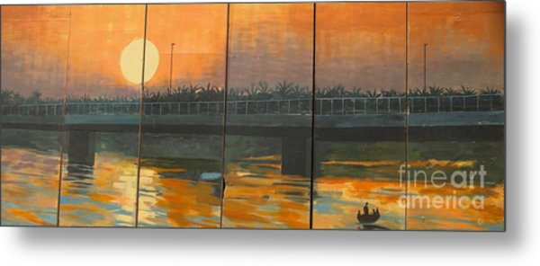 Sunset On The Canals Metal Print by Unknown - Local Iraqi National