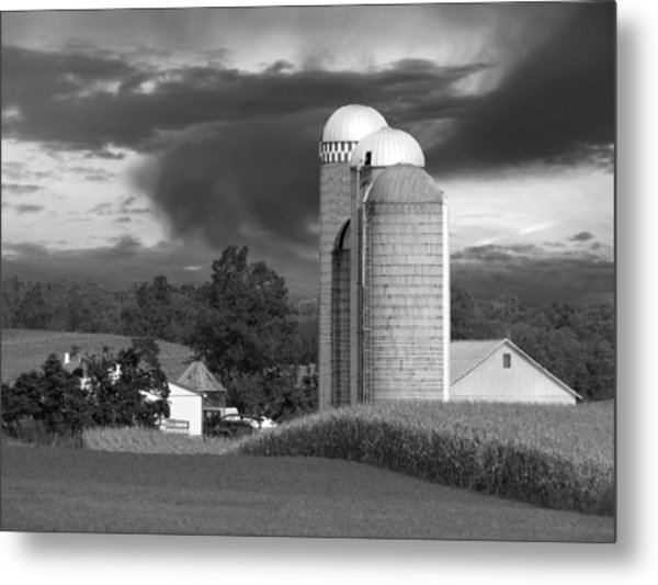 Sunset On The Farm Bw Metal Print