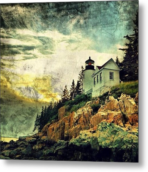 Sunset Over Bass Harbor Lighthouse Metal Print