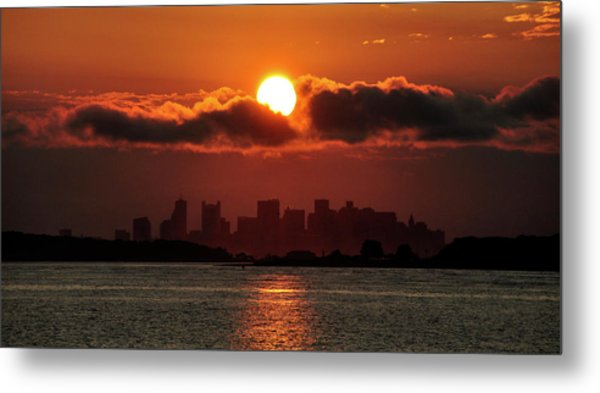 Sunset Over Boston Metal Print