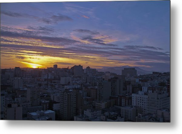 Sunset Over City Metal Print
