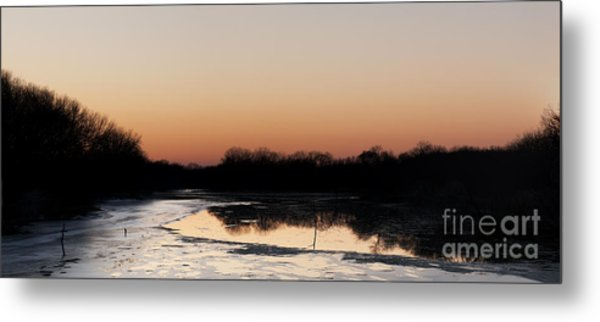 Sunset Over The Republican River Metal Print