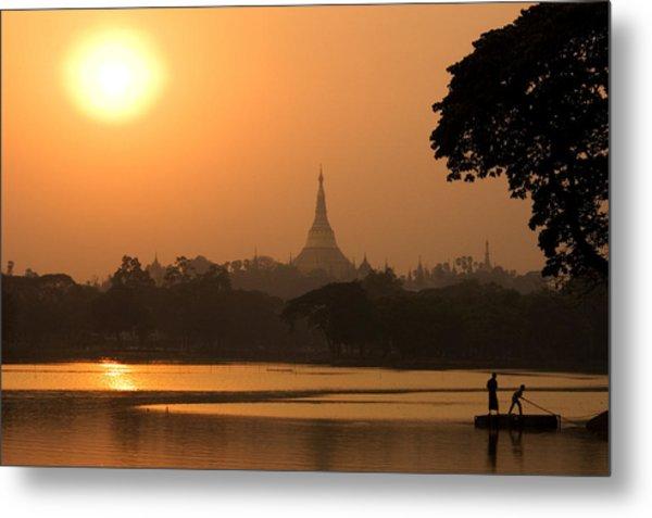 Sunset Over The Shwedagon Pagoda Metal Print by Austin Bush