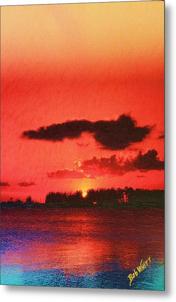 Sunset Over Three Lakes Metal Print
