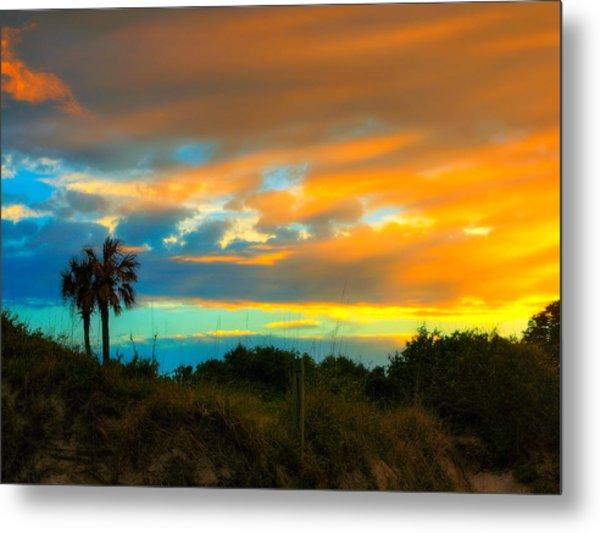 Sunset Palm Folly Beach  Metal Print by Jenny Ellen Photography