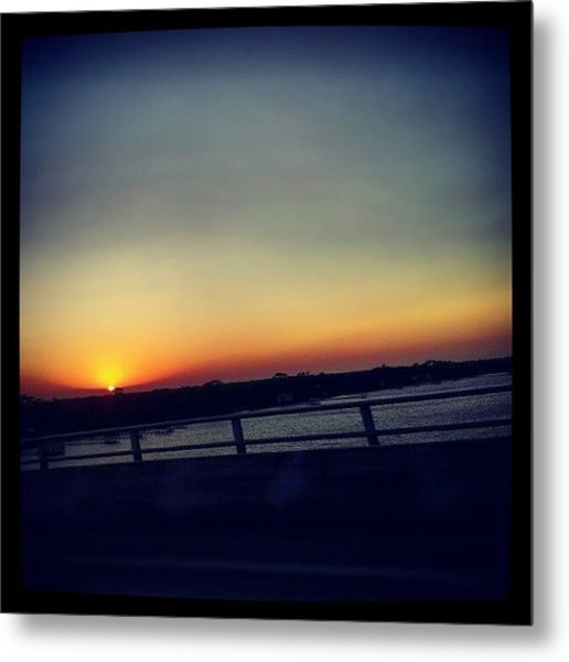 #sunset #rainbow #cool #bridge #driving Metal Print