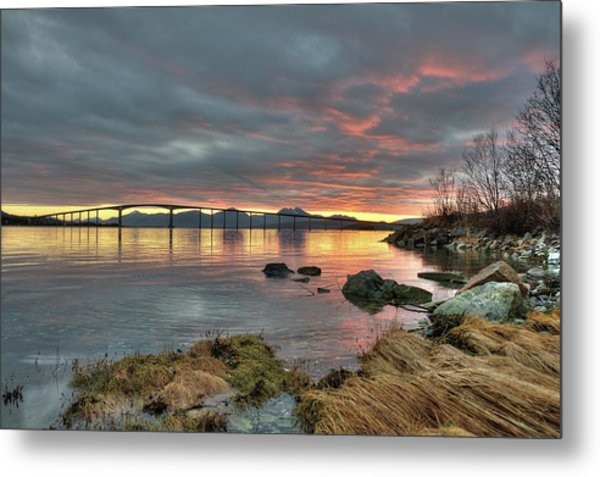 Sunset Reflecting Water,clouds, Sandnessund Bridge Metal Print by Bernt Olsen