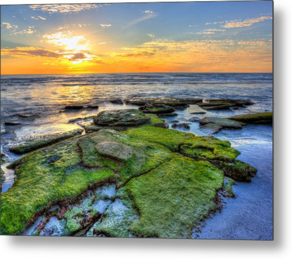 Sunset Siesta Key Rocks Metal Print by Jenny Ellen Photography
