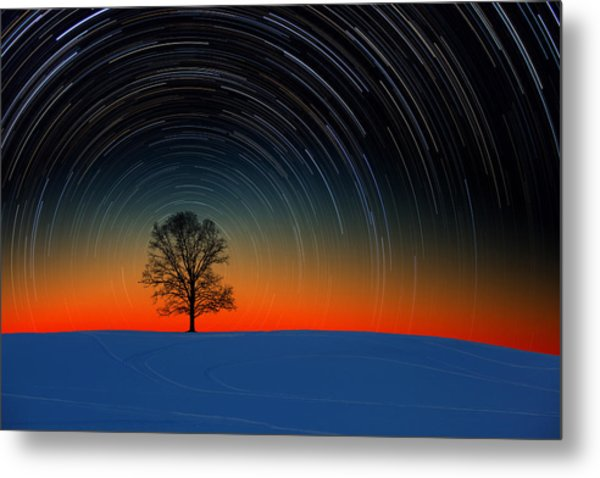 Sunset Star Trails Metal Print