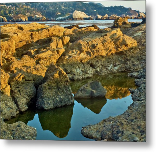 Sunset Tidepool Larry Darnell Point Lobos Central California Landscape Metal Print by Larry Darnell