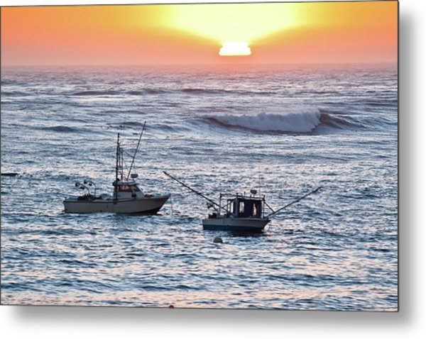 Sunset With Fishing Boats Metal Print