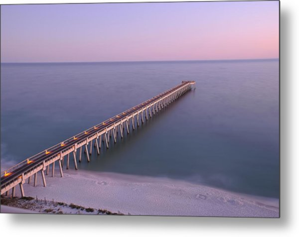 Sunsetting On The Pier Metal Print