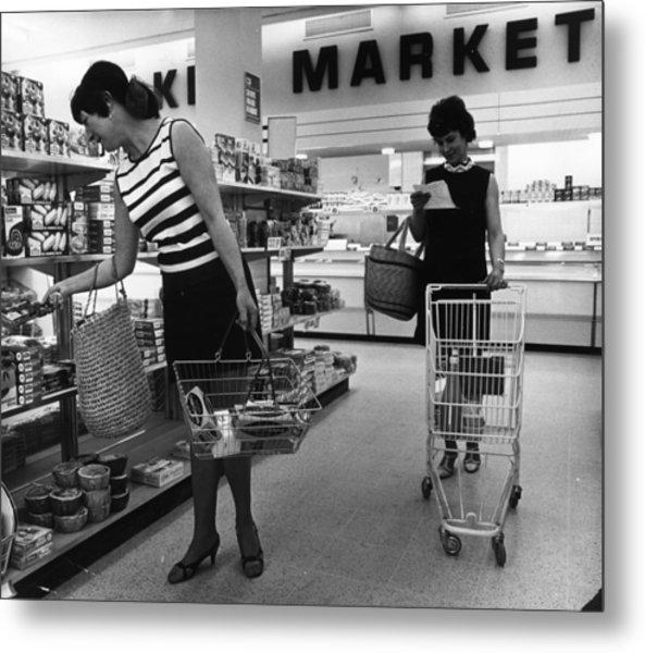 Supermarket Shopping Metal Print by V Thompson