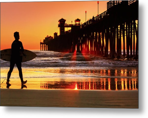 Surf Session At Sunset Metal Print by Donna Pagakis