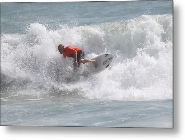 Surfing In Cocoa Beach Metal Print