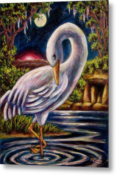 Swamp Crane Metal Print
