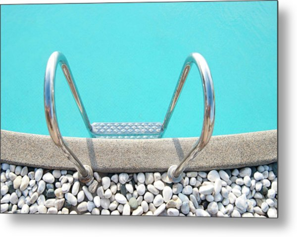 Swimming Pool With White Pebbles Metal Print by Lawren