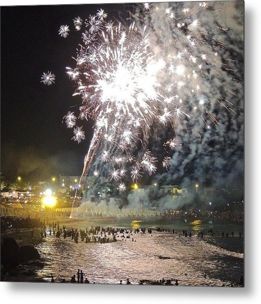 Swimming Under The Fireworks Metal Print