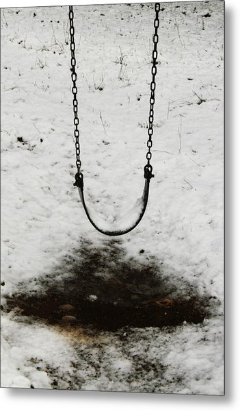 Swing In Snow Metal Print
