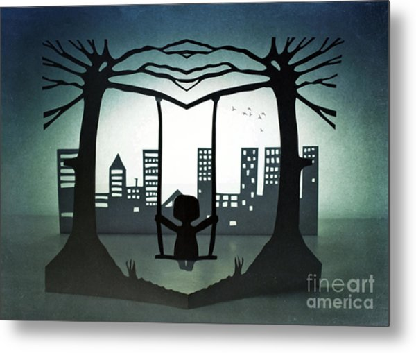 Swing With A City View Metal Print by Catherine MacBride