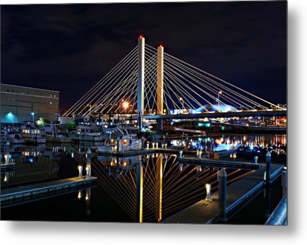 Tacoma Hwy 509 Bridge Up In Lights 1 Metal Print