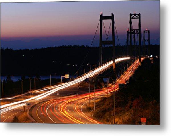 Tacoma Narrows Bridges Flowing Light  Metal Print