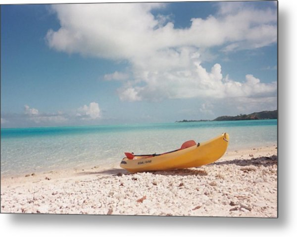 Tahiti Ocean Kayak On Beach Metal Print by Mark Norman