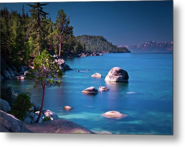 Tahoe On The Rocks Metal Print by Donni Mac