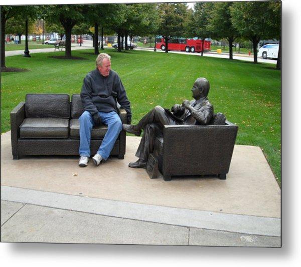 Talking To A Statue Metal Print