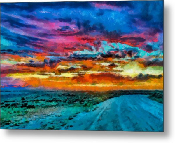 Taos Sunset Iv Wc Metal Print