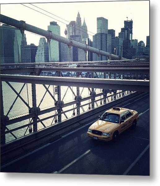 Taxi On Bridge Metal Print