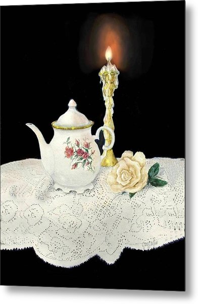 Tea Pot And Rose Metal Print