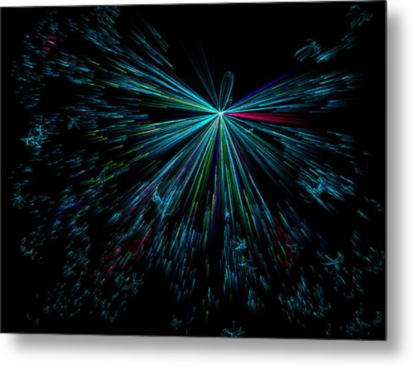 Teal Star Metal Print