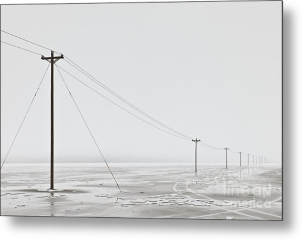 Telephone Poles In Bleak Winter Landscape Metal Print by Dave & Les Jacobs