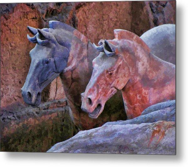 Terracotta Warriors' Horses 1 Metal Print