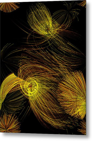Tesla Yellow Metal Print
