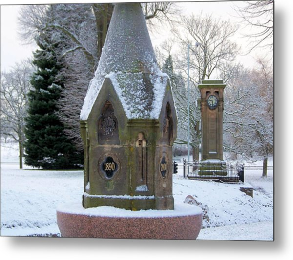 Tettenhall Village Snow Metal Print