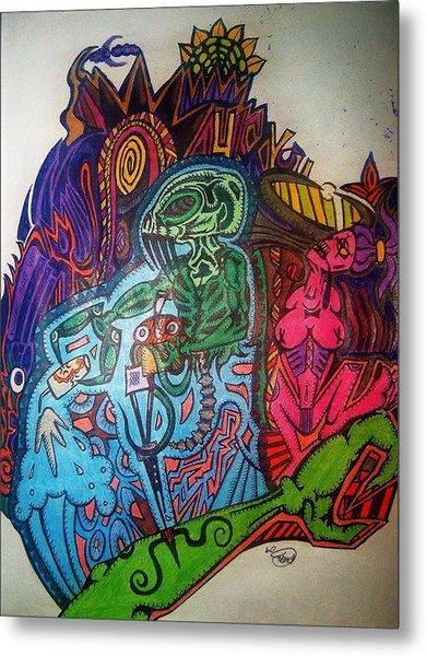 The Alien Post Man Metal Print by Ragdoll Washburn