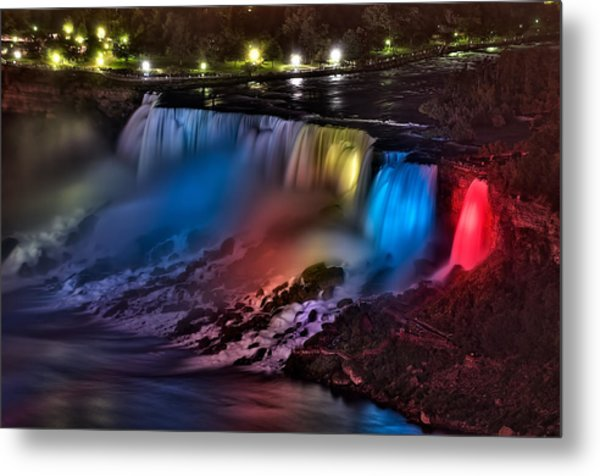 The American Falls Illuminated With Colors Metal Print