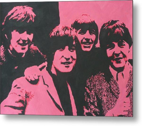 The Beatles In Pink Metal Print