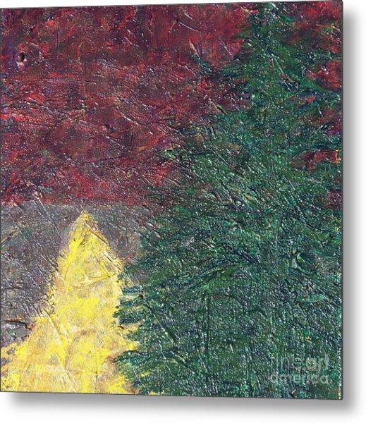 The Big Tree And The Yellow Path Metal Print