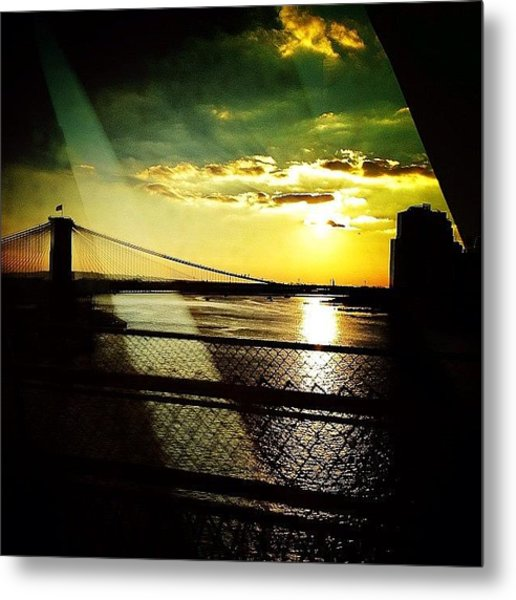 The Brooklyn Bridge At Dusk Metal Print