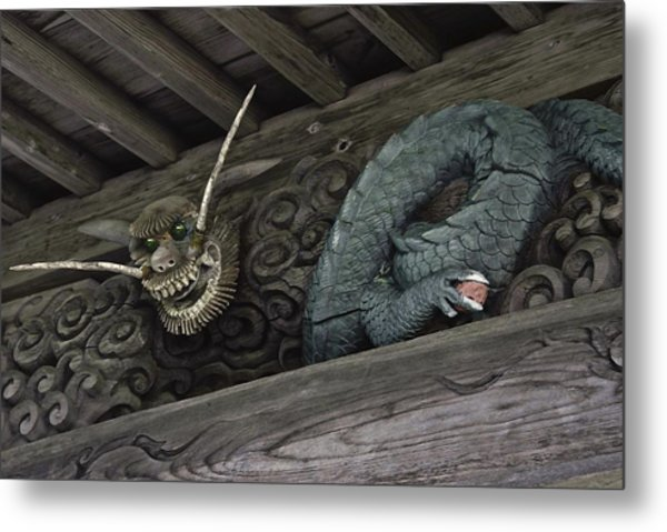 The Carved Shrine Dragon Metal Print