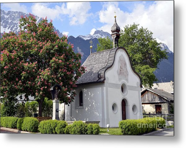 The Chapel In Alps Metal Print